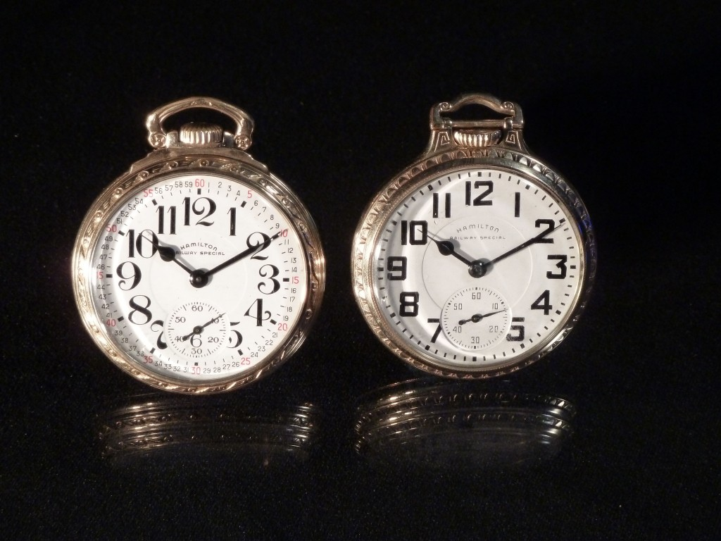 Two Hamilton 992B pocket watches.