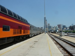 Downtown Chicago, as viewed from the coach yard.