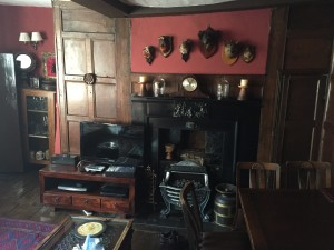 Living room at the Haunted Chamber--the guest quarters at the House of Trembling Madness, in York (UK). Yes, the taxidermy is real.