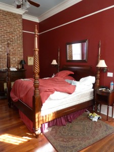 The bed that Carolyn was possibly, purportedly thrown from.